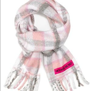 VS Blush & Gray Plaid Plush Scarf